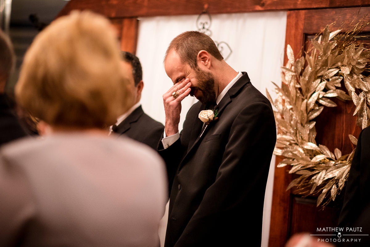 Commerce Club Wedding | Ceremony photos | emotional groom