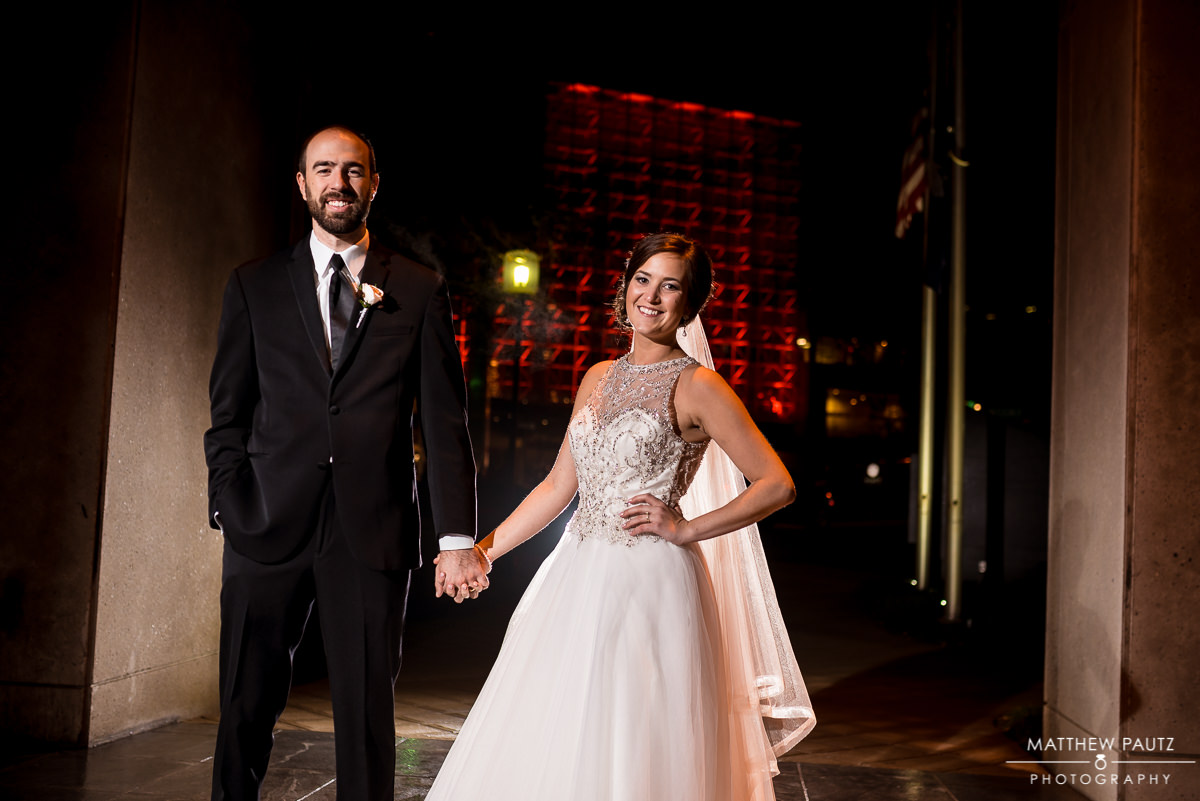 Greenville wedding photographers | night wedding photos in winter