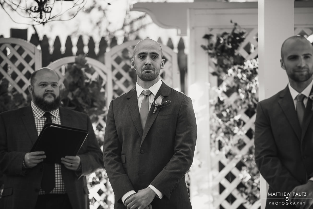 Groom First Look at Twigs Tempietto wedding