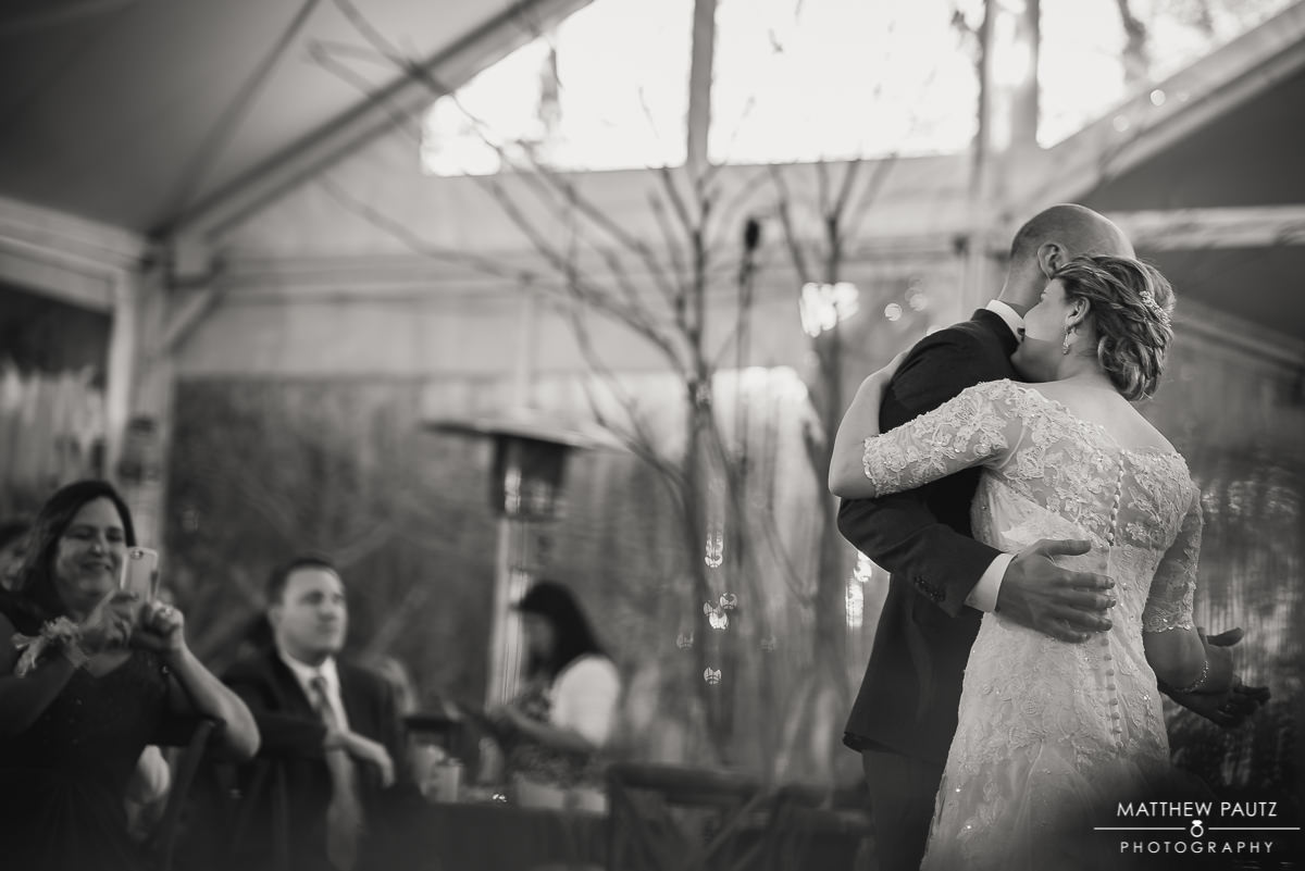 Bride and groom first dance at Twigs Tempietto