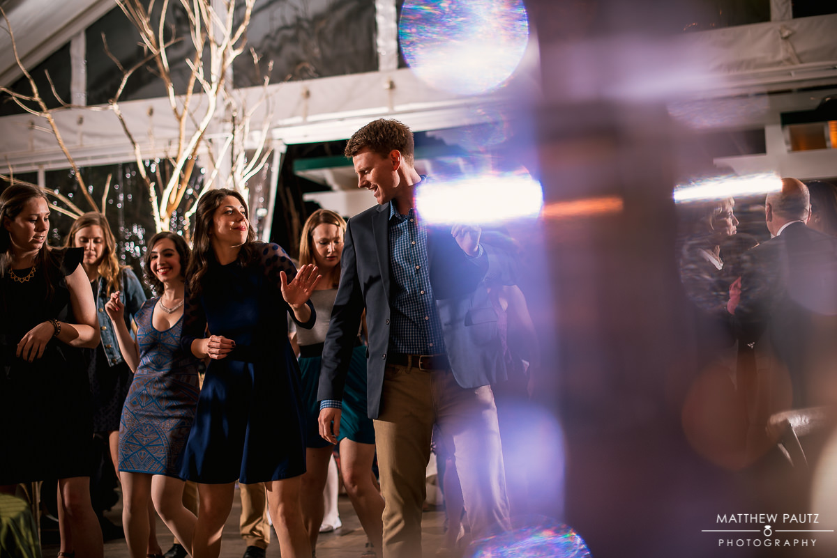 Wedding guests dancing at twigs tempietto reception