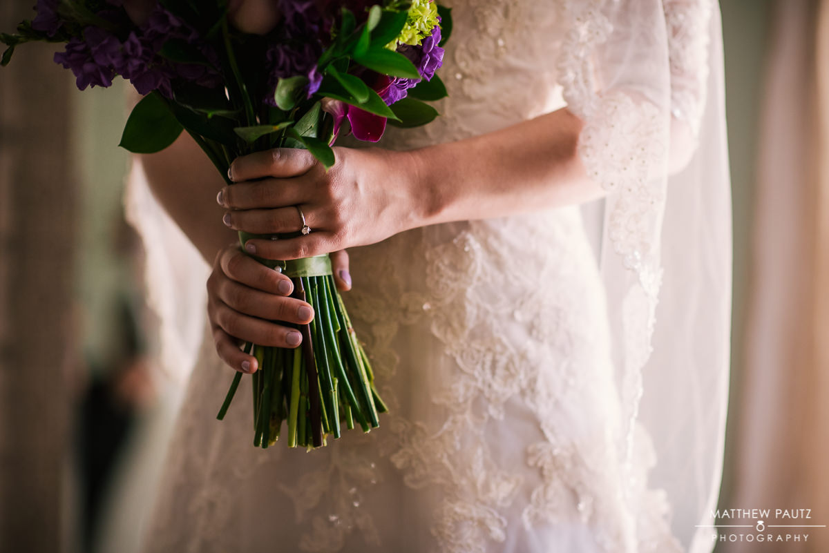 closeup of bride holding bridal bouquet