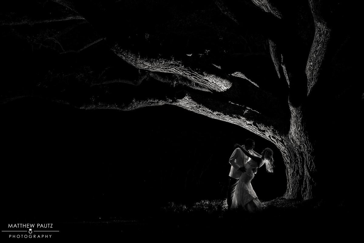 Silhouette night wedding photo under large oak tree